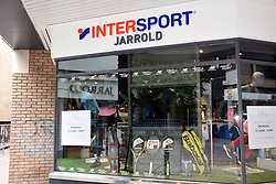 As Coronavirus lockdown eases, shops prepare for opening on 15 June 2020, Norfolk UK. Sports shop