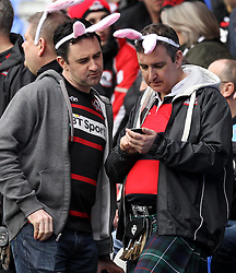Edinburgh fans before the game with London Irish - Photo mandatory by-line: Robbie Stephenson/JMP - Mobile: 07966 386802 - 05/04/2015 - SPORT - Rugby - Reading - Madejski Stadium - London Irish v Edinburgh Rugby - European Rugby Challenge Cup