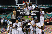 Maryland celebrate their 68-65 win over Georgia Tech in the Championship Game of the 2012 ACC Women's Basketball Tournament at the Greensboro Coliseum in Greensboro, North Carolina.  March 04, 2012  (Photo by Mark W. Sutton)