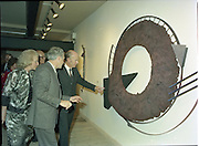 24/08/1984<br /> 08/24/1984<br /> 24 August 1984<br /> Opening of ROSC '84 at the Guinness Store House, Dublin. President Patrick Hillery (right) questions Mr Pat Murphy about one of the art works on display at the exhibition.