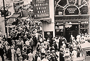 The American Union Bank collapses as crowds gather in a 'run on the bank' in the Great Depression. 1931