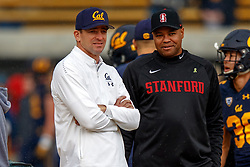 BERKELEY, CA - DECEMBER 01: Head coach Justin Wilcox of the California Golden Bears talks to head coach David Shaw of the Stanford Cardinal before the game at California Memorial Stadium on December 1, 2018 in Berkeley, California. (Photo by Jason O. Watson/Getty Images) *** Local Caption *** Justin Wilcox; David Shaw