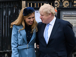 Boris Johnson and Carrie Symonds arriving at the Commonwealth Day Service, Westminster Abbey, London. Picture credit should read: Doug Peters/EMPICS