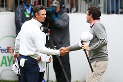 September 10, 2018 - Newtown Square, Pennsylvania, United States - Keegan Bradley (R) shakes hands with Justin Rose after a one-hole playoff to win the 2018 BMW Championship. (Credit Image: © Debby Wong/ZUMA Wire)