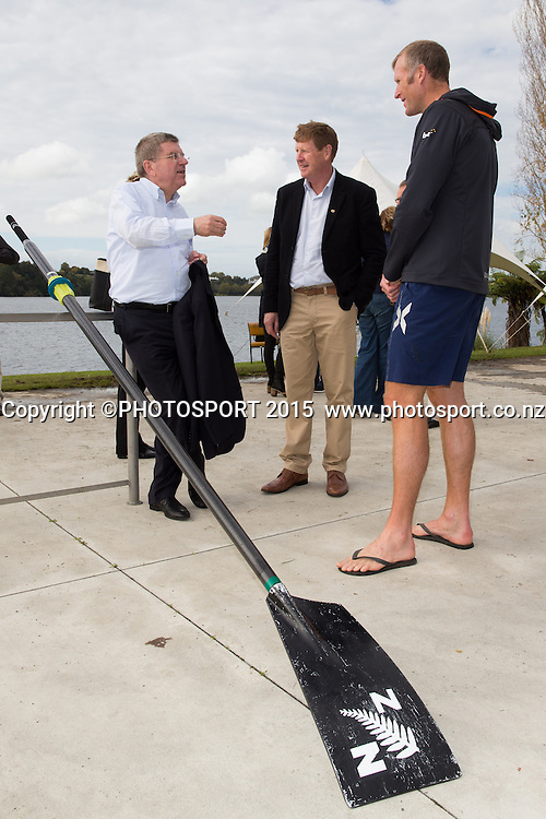 IOC president Thomas Bach, Mike Stanley (NZ IOC) and Mahe Drysdale at the Rowing NZ Media Day, Lake Karapiro, Cambridge, New Zealand, Wednesday 6 May 2015. Photo: Stephen Barker/Photosport.co.nz