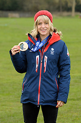 © Licensed to London News Pictures. 03/03/2014; Hambrook, South Gloucestershire, UK.  Jenny Jones, Olympic Bronze medallist in snowboarding, at her old school Hambrook Primary.<br /> Photo credit: Simon Chapman/LNP
