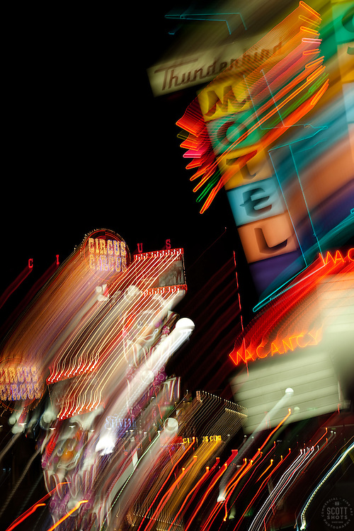 """Thunderbird Motel, Reno""  This sign was photographed in Downtown Reno, Nevada. The effect was obtained in camera by long exposure mixed with intentional camera movement."