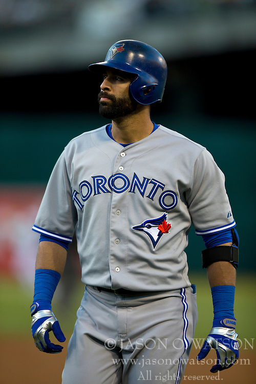 OAKLAND, CA - JULY 05:  Jose Bautista #19 of the Toronto Blue Jays reacts after striking out against the Oakland Athletics during the third inning at O.co Coliseum on July 5, 2014 in Oakland, California. The Oakland Athletics defeated the Toronto Blue Jays 5-1.  (Photo by Jason O. Watson/Getty Images) *** Local Caption *** Jose Bautista