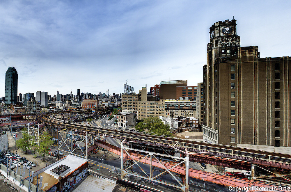 A view of Long Island City elevated train line and Queens Borough Plaza Station.