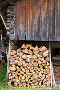 Woodpile in Klosters in Graubunden region, Switzerland