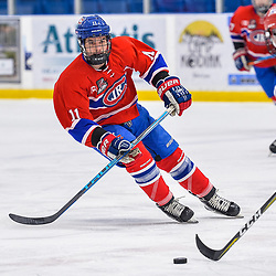 OAKVILLE, ON  - FEB 23,  2018: Ontario Junior Hockey League game between the Oakville Blades and the Toronto Jr. Canadiens, Matthew Di Cesare #11 of the Toronto Jr. Canadiens follows the play during the second period.<br /> (Photo by Ryan McCullough / OJHL Images)