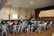 A lecture on employment rights taking place at  Missao Paz, São Paulo, Brazil.<br /> <br /> Missao Paz provides advice and support on employment, health, family, community and education. They also have residential quarters where people can stay when they have no where else. <br /> <br /> Their mission is to welcome, understand, integrate and celebrate the lives of immigrants and refugees, dreaming of a universal citizenship.