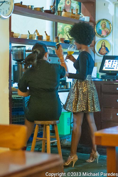 A restaurant hostess in the Casco Viejo neighborhood of Panama City, Panama