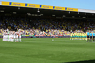 Picture by Paul Chesterton/Focus Images Ltd.  07904 640267.11/9/11.The players and fans observe the one minute silence for the victims of the 9/11 tragedy before the Barclays Premier League match at Carrow Road stadium, Norwich.