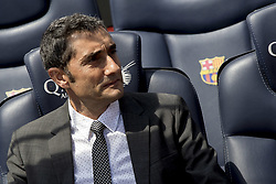 June 1, 2017 - Barcelona, Catalonia, Spain - FC Barcelona's new head coach Ernesto Valverde (L) gestures during a press conference for his presentation at Camp Nou stadium in Barcelona, Spain on June 01, 2017. (Credit Image: © Miquel Llop/NurPhoto via ZUMA Press)