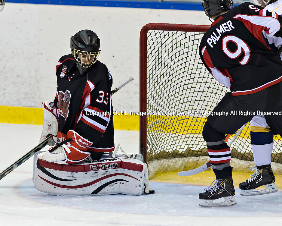 Whitby, ON - Jan 26 : Ontario Junior Hockey League Game Action between the Whitby Fury Hockey Club &amp; Pickering Panthers Hockey Club, Steven Dombrosky #33 of the Pickering Panthers Hockey Club makes the save<br /> (Photo by Dave Powers / OJHL Images)