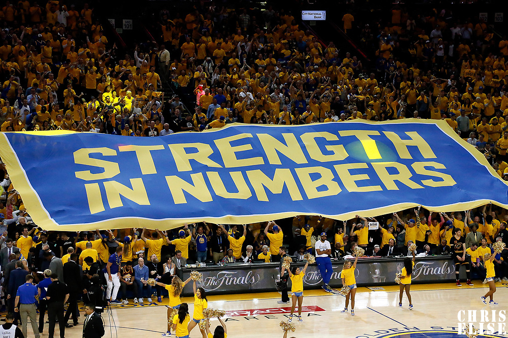12 June 2017: A banner showing the slogan Strength in numbers is see during the Golden State Warriors 129-120 victory over the Cleveland Cavaliers, in game 5 of the 2017 NBA Finals, at the Oracle Arena, Oakland, California, USA.