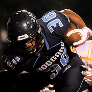 Hoggard High School's Keevin Thompson rushes against Laney Friday October 24, 2014. (Jason A. Frizzelle)