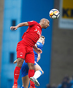 Leyton Orient's Romauld Boco and Gillingham's Jake Hessenthaler during the The FA Cup match between Gillingham and Leyton Orient at the MEMS Priestfield Stadium, Gillingham, England on 4 November 2017. Photo by John Marsh.