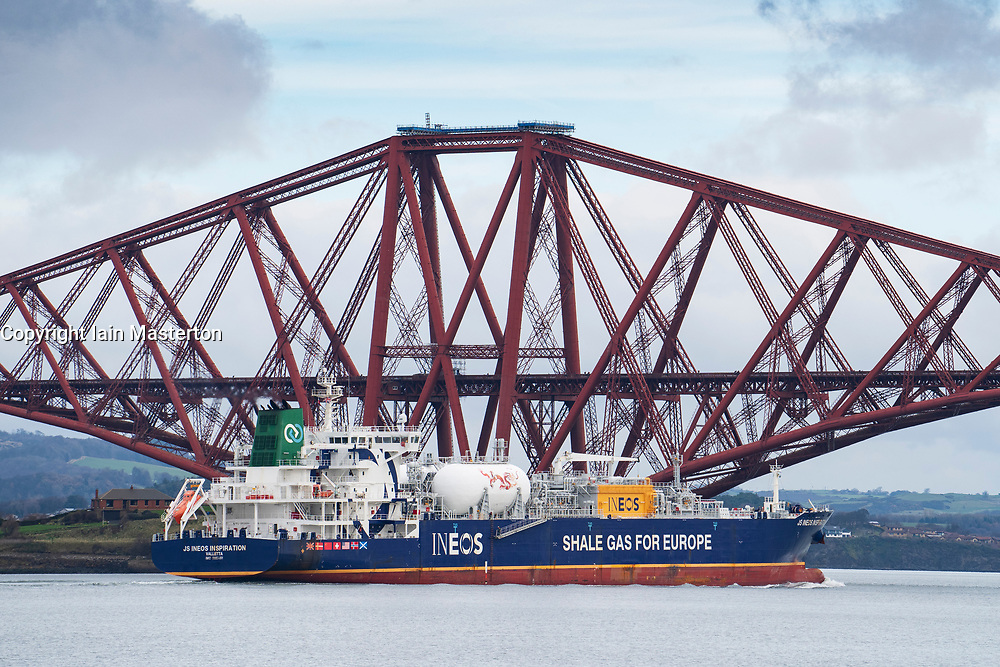INEOS gas tanker transporting shale gas from the USA to Grangemouth refinery in Scotland ,sailing past the Forth Bridge on the Firth of Forth in Scotland, UK