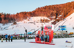 17.03.2018, Vikersundbakken, Vikersund, NOR, FIS Weltcup Ski Sprung, Raw Air, Vikersund, Team, im Bild Polen (2.Platz), Sieger Norwegen, Slowenien (3. Platz) // 2nd placed Poland, Winner Norway, 3rd placed Slovenia during Team Competition of the 4th Stage of the Raw Air Series of FIS Ski Jumping World Cup at the Vikersundbakken in Vikersund, Norway on 2018/03/17. EXPA Pictures © 2018, PhotoCredit: EXPA/ JFK