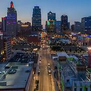 Above Main Street, Kansas City, Missouri with Hampton Inn at 16th & Main under construction