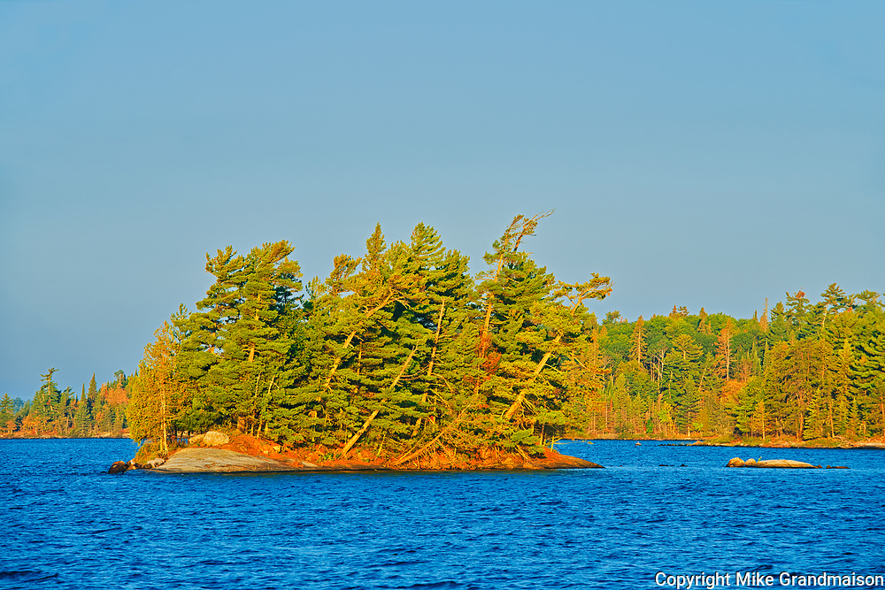 Island in Lake of the Woods at sunrise<br />Sioux Narrows Provincial Park<br />Ontario<br />Canada