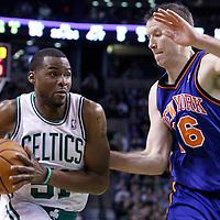 04 March 2012: New York Knicks small forward Steve Novak (16) defends on Boston Celtics point guard Keyon Dooling (51) during the Boston Celtics 115-111 (OT) victory over the New York Knicks at the TD Garden, Boston, Massachusetts, USA.