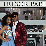 Melissa Latouche is a actress and Naeem Mahmood is a director arrives at Tresor Paris In2ruders - launch at Tresor Paris, 7 Greville Street, Hatton Garden, London, UK 13th September 2018.