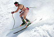 PRICE CHAMBERS / NEWS&amp;GUIDE<br /> Several men were spotted shredding in the nude, like this brave and confident skier traveling with only the bare essentials, and a GoPro camera on a Chesty mount.