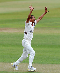 Somerset's Alfonso Thomas unsuccessfully appeals for the LBW of Sussex's Luke Wells. - Photo mandatory by-line: Harry Trump/JMP - Mobile: 07966 386802 - 05/07/15 - SPORT - CRICKET - LVCC - County Championship Division One - Somerset v Sussex- The County Ground, Taunton, England.