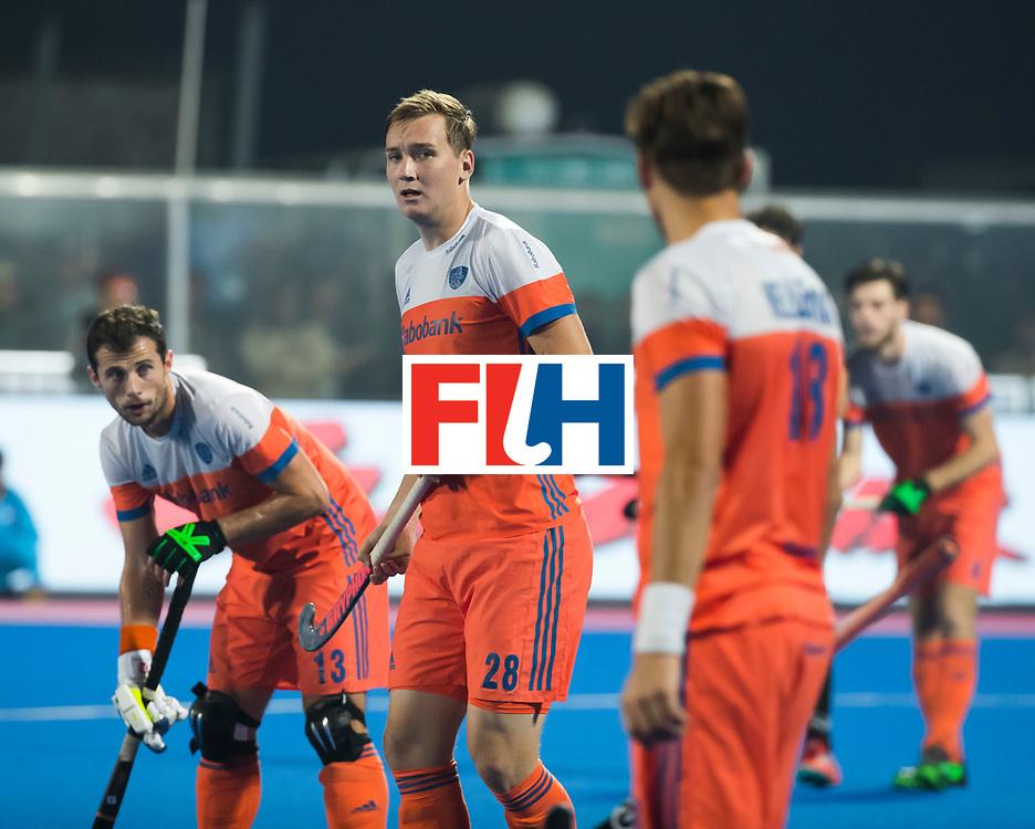 BHUBANESWAR -  Floris Wortelboer (Ned) tijdens de Hockey World League Finals , de kwartfinale wedstrijd Duitsland-Nederland (3-3).Duitsland wint na shoot-outs.    COPYRIGHT KOEN SUYK