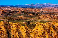 Badlands from Mirador del Fin del Mundo, near Guadix, Granada Province, Andalusia, Spain.