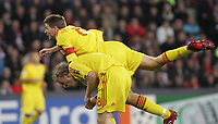Foto Omega/GPA<br /> Eindhoven 03/04/2007<br /> Champions League 2006-2007<br /> Psv Eindhoven-Liverpool 0-3<br /> Nella foto il gol di Steven Gerrard di testa