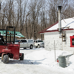 The LaRivieres moving and tracking syrup barrels at their sugarhouse in Big Six Township, Maine.