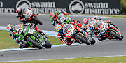 Jonathan Rea leads Davies followed by Haslam<br /> Philip Island, Australia, 03.03.2015 FIM World Superbike Championship - Honorarpflichtiges Bild, Motorrad WSBK -<br /> fee liable image, copyright © ATP / Damir IVKA