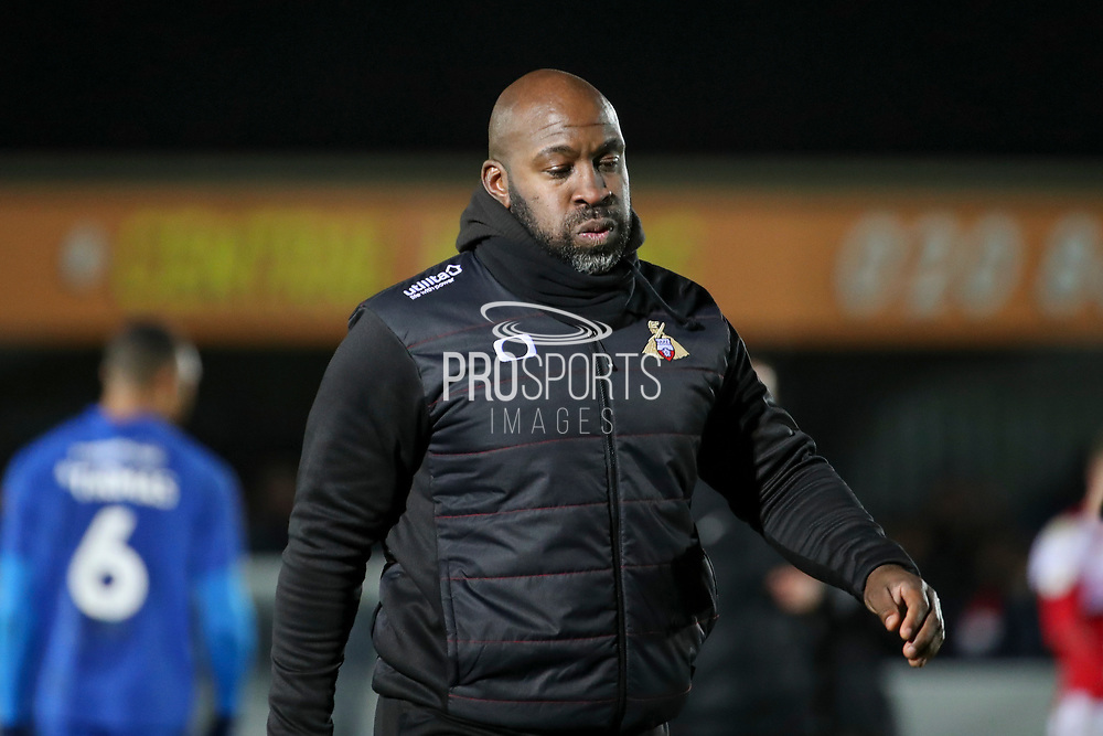 Doncaster Rovers manager Darren Moore walking off pitch after loss during the EFL Sky Bet League 1 match between AFC Wimbledon and Doncaster Rovers at the Cherry Red Records Stadium, Kingston, England on 14 December 2019.