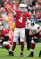 Sept. 30, 2012; Glendale, AZ, USA; Arizona Cardinals quarterback Kevin Kolb (4) reacts at University of Phoenix Stadium. Mandatory Credit: Jennifer Stewart-US PRESSWIRE.