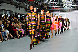 © Licensed to London News Pictures. 20/02/2016.Models on the catwalk at the JASPER CONRAN Autumn/Winter 2016 show. Models, buyers, celebrities and the stylish descend upon London Fashion Week for the Autumn/Winters 2016 clothes collection shows. London, UK. Photo credit: Ray Tang/LNP