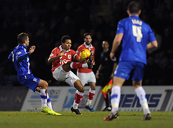 Bristol City's Korey Smith controls the ball under pressure - Photo mandatory by-line: Dougie Allward/JMP - Mobile: 07966 386802 - 06/01/2015 - SPORT - football - Gillingham - Priestfield Stadium - Gillingham v Bristol City - Johnstone Paint Trophy - Area final