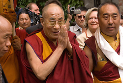 "HUY, BELGIUM - MAY-29-2006 - The Dalai Lama attends an inauguration ceremony for a new temple at the Institute Yeunten Ling in Huy, Belgium. The new temple was named Thubten Sherab Ling by the Dalai Lama, which means ""The garden of study and practice of the teachings of the Enlightened One"".  This marks the start of the Dalai Lama's five-day visit to Belgium where he will speak in both Brussels and Antwerp. (PHOTO © JOCK FISTICK)"