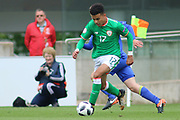 Tyreik Samuel Wright of Republic of Ireland (17) runs at the Bosnia defence during the UEFA European Under 17 Championship 2018 match between Bosnia and Republic of Ireland at Stadion Bilino Polje, Zenica, Bosnia and Herzegovina on 11 May 2018. Picture by Mick Haynes.