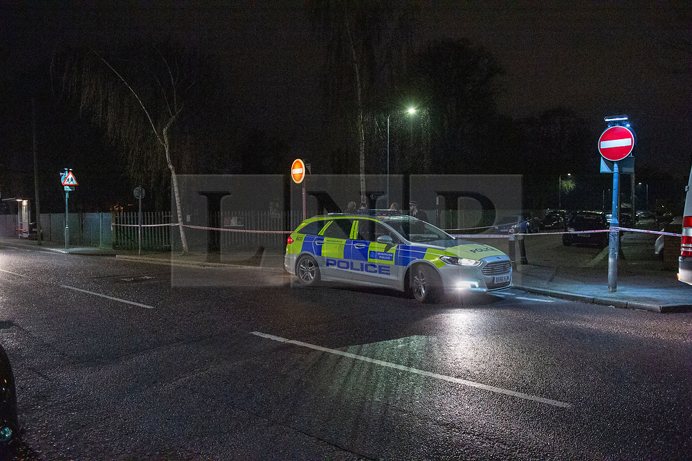 © Licensed to London News Pictures. 20/01/2020. London, UK. Police cordon off a road and park approximately half a mile from the location where an investigation was launched into the deaths of three men in Redbridge, all of whom had suffered apparent stab injuries.. Photo credit: Peter Manning/LNP
