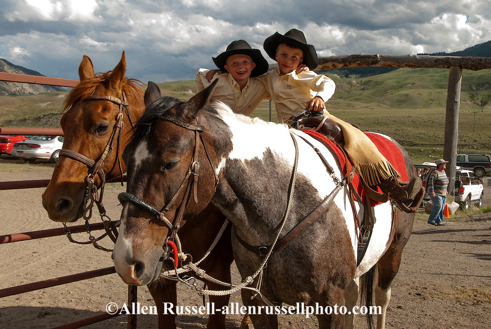 Kids, children, boys, ride, horses, rodeo, Gardiner, Montana