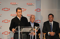 Chevrolet Indy Car engine announcement.  Roger Penske, Randy Bernard, Helio Castroneves