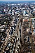 Nederland, Noord-Brabant, Eindhoven, 07-03-2010 ; .Spooremplacement en stationsgebied met Centraal Station, binnenstad aan de horizon. Het emplacement  en voormalig goederendistributiecentrum (goederen distributie centrum GDV) wordt gesaneerd.luchtfoto (toeslag), aerial photo (additional fee required).foto/photo Siebe Swart
