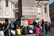 Roma 27 maggio 2010.Manifestazione contro il Centro di permanenza temporanea (CPT), ora denominato Centri di identificazione ed espulsione (CIE), per immigrati di Ponte Galeria a Roma
