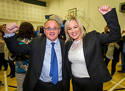 Newly elected Sinn Fein MP for West Tyrone Barry McElduff MP (left) with Sinn Fein leader in Northern Ireland Michelle O'Neill, at the Omagh Leisure Complex, Co Tyrone.