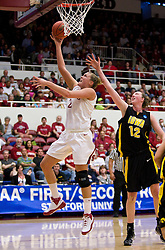 March 22, 2010; Stanford, CA, USA;  Stanford Cardinal forward/center Jayne Appel (2) shoots past Iowa Hawkeyes center Morgan Johnson (12) during the first half in the second round of the 2010 NCAA womens basketball tournament at Maples Pavilion. Stanford defeated Iowa 96-67.