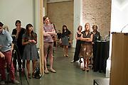TORSTEN LAUSCHMANN;   IWONA BLAZWICK, The Jarman award 2011. Whitechapel Gallery. London. 3 October 2011. <br /> <br />  , -DO NOT ARCHIVE-© Copyright Photograph by Dafydd Jones. 248 Clapham Rd. London SW9 0PZ. Tel 0207 820 0771. www.dafjones.com.